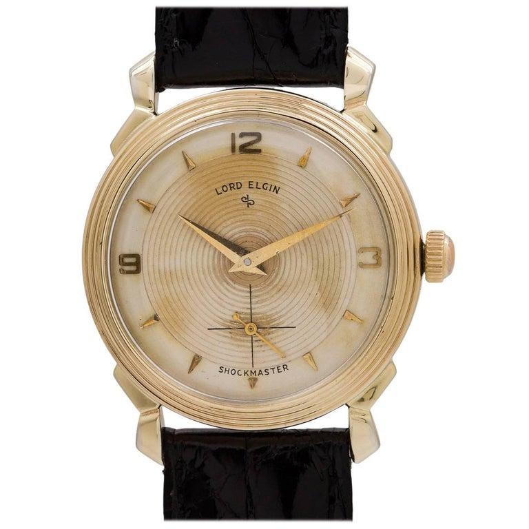 Lord Elgin Yellow Gold Retro Manual Wind Wristwatch, circa 1950s