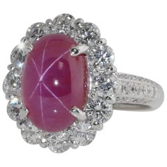 5.98 Carat Burma No Heat Star Ruby and Diamond Ring