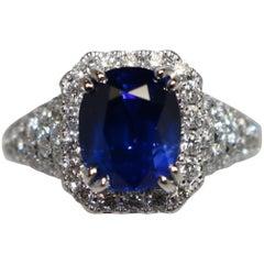 Diamond Cushion Sapphire Ring
