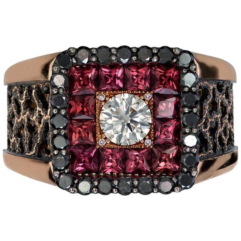 Diamond Garnet Gold Men's Textured Ring One of a Kind