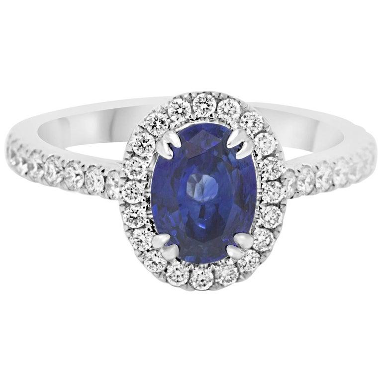 Sapphire Diamond Halo Gold Ring