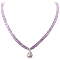 Amethyst Pearl Drop Necklace
