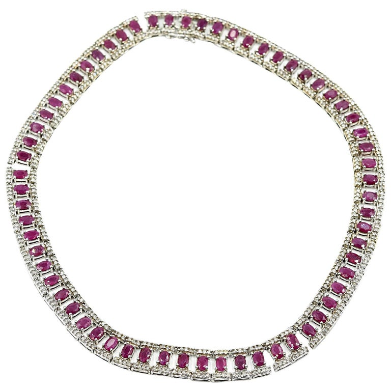 Ruby and Diamond Collar Necklace 14k White Gold