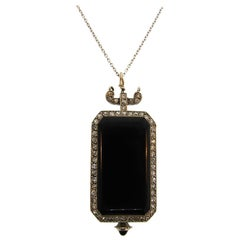 Dreicer & Co. Lady's Platinum Diamond Onyx Pendant Watch Necklace