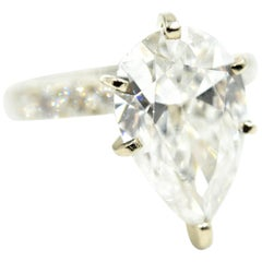 18k White Gold 5.03ct Pear Cut Diamond Engagement Ring with Diamond Mounting