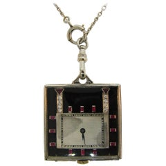 Platinum Diamond Ruby Black Onyx Pearl Pendant Watch Necklace, 1950s