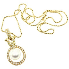 Pearl and Diamond Pendant on Necklace 18k Yellow Gold