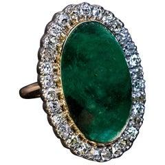 Antique 19 Carat Cabochon Cut Emerald  Diamond Ring