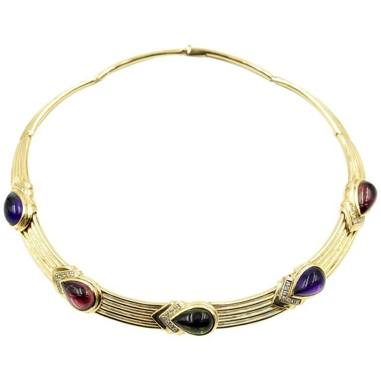 14k Yellow Gold with Diamond and Gemstone Collar Necklace