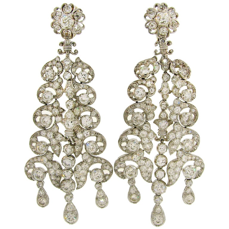 Andrew Clunn Diamond White Gold Dangle Earrings