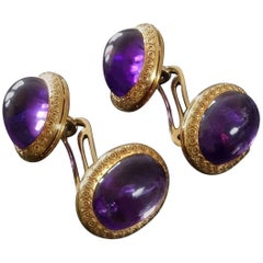 Antique Late Victorian Edwardian Amethyst Gold Double Cufflinks in Original Case