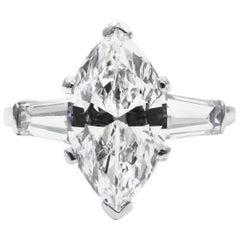 Van Cleef & Arpels 1.75 Carat Marquise Cut D IF Diamond Platinum Ring GIA