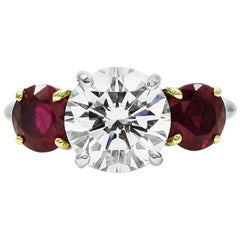 Tiffany & Co. 2.10 Carat Diamond and Ruby Three Stone Ring GIA Certified