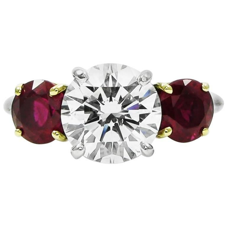 Tiffany & Co. 2.10 Carat Diamond and Ruby Three Stone Ring GIA Certified For Sale