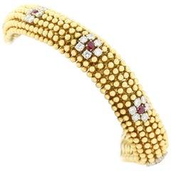 Vintage Diamond, Ruby Gold Bracelet