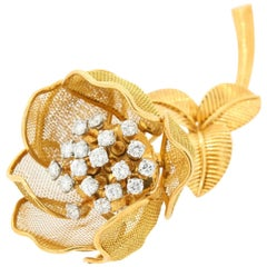 Cartier France Diamond and Gold Vintage Brooch