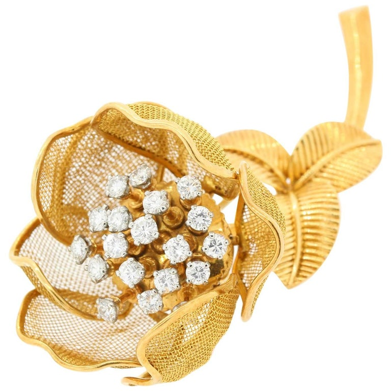Cartier France Vintage Diamond and Gold Brooch