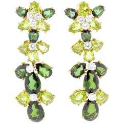 Vintage Tourmaline Diamond  Peridot Earrings