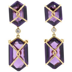 Vintage Amethyst and Diamond Gold Earrings