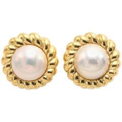 Tiffany & Co. 18 Karat Mabe Pearl Pierced Earrings