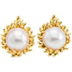 18 Karat Mabe Pearl Clip-On Earrings