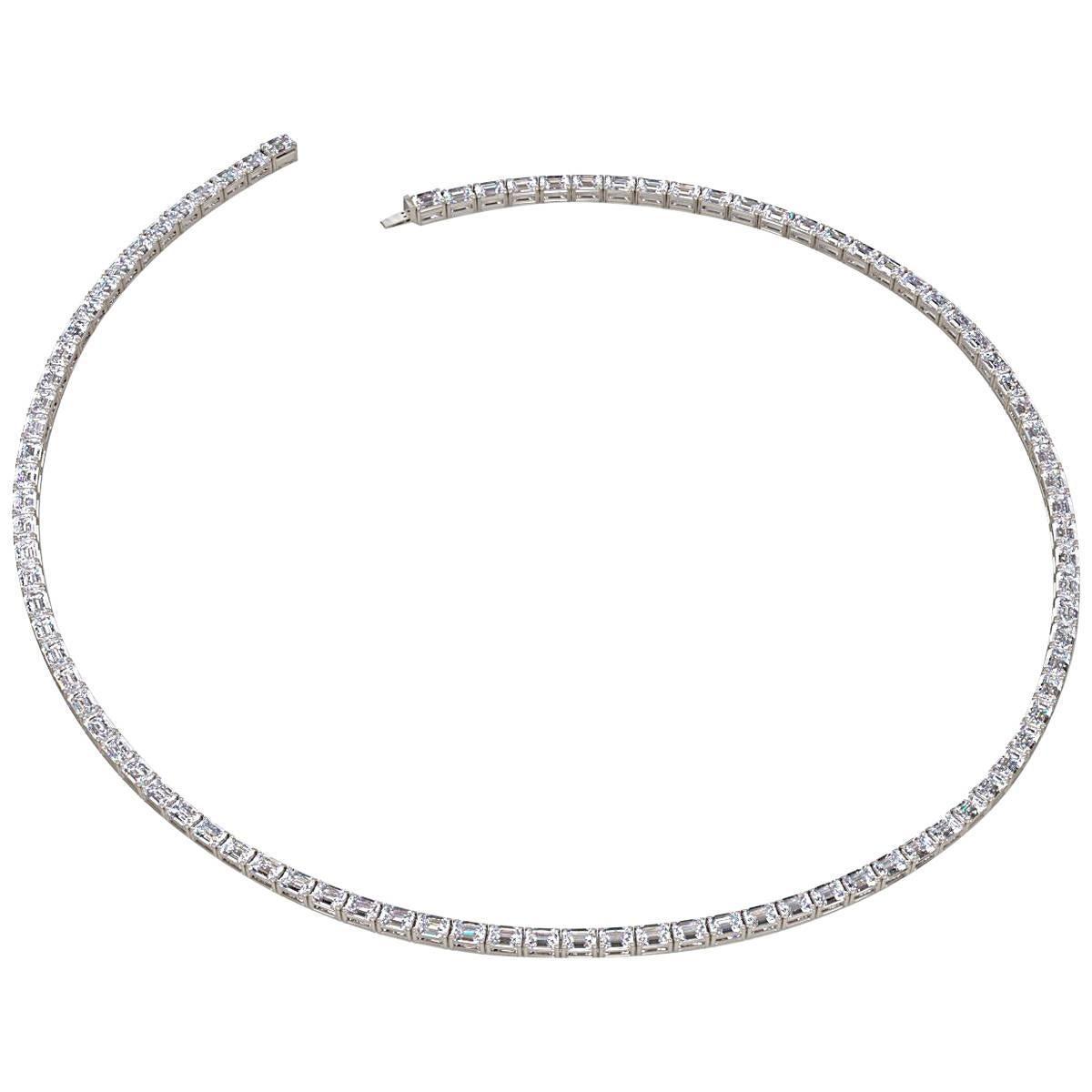 Emilio Jewelry 25.00 Carat Emerald Cut Diamond Necklace