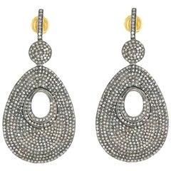 Diamond Pave Drop Earrings in 18 Karat Gold