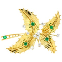 Cartier Vintage Diamond, Emerald Gold Brooch