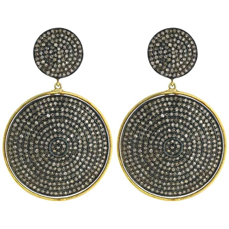 Diamond Drop Earrings in 14 Karat Gold