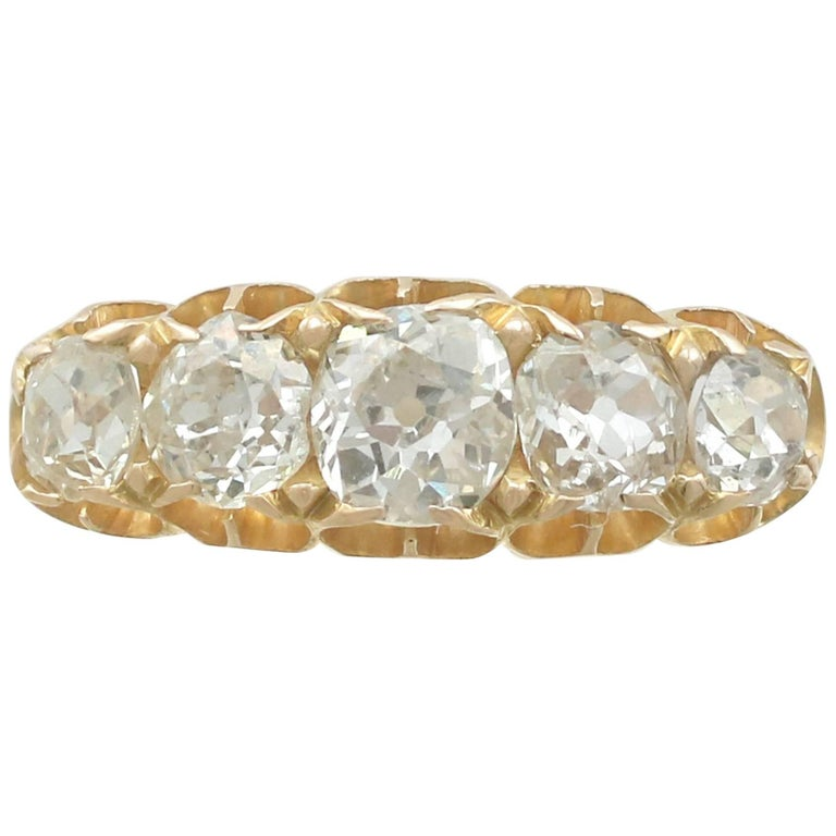 1858 Antique 1.51 Carat Diamond and Yellow Gold Five-Stone Ring
