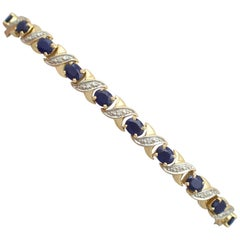 1990s Sapphire and Diamond Yellow Gold Bracelet