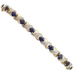 1990s Sapphire and Diamond Yellow Gold Bracelet