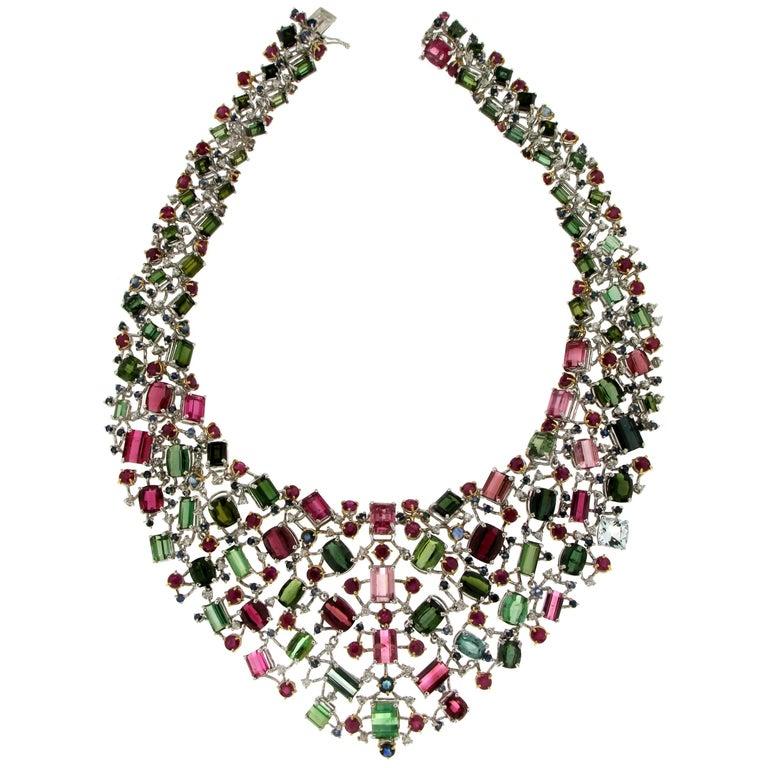 Tourmaline White Gold Choker Necklace