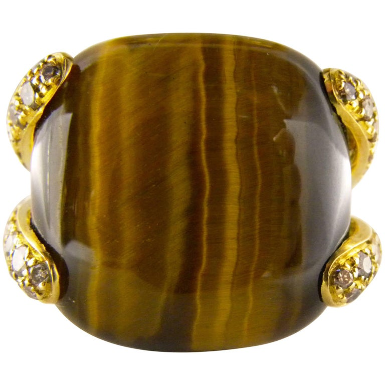 Natural 31.50 Carat Tiger's Eye Cushion Cut Champagne Diamond Cocktail Ring