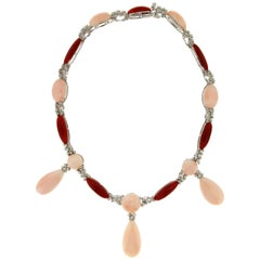 Coral 18 Carat White Gold Diamonds Choker Necklace