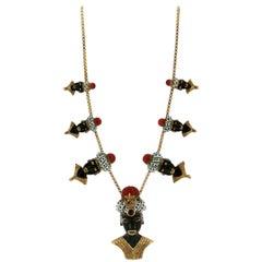 Black Moor Yellow Gold Enamel Pendant Necklace