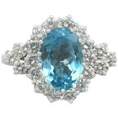 1990s 3.59 Carat Aquamarine and Diamond White Gold Cluster Ring