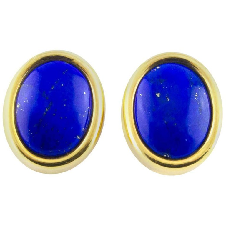 Oval Lapis Lazuli Gold Earrings