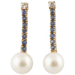 Diamonds Sapphires Big Australian Pearls Rose Gold Earrings