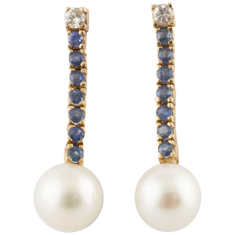 Diamonds Sapphires Big Australian Pearls Rose Gold Earrings