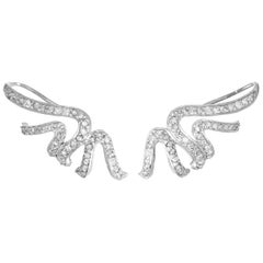 Oriental Statement Ear Cuff Earrings in 18 Karat White Gold and White Diamonds