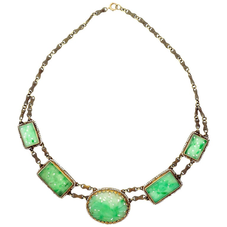 GIA Certified Natural Jadeite Jade Pearl Gold Necklace For Sale