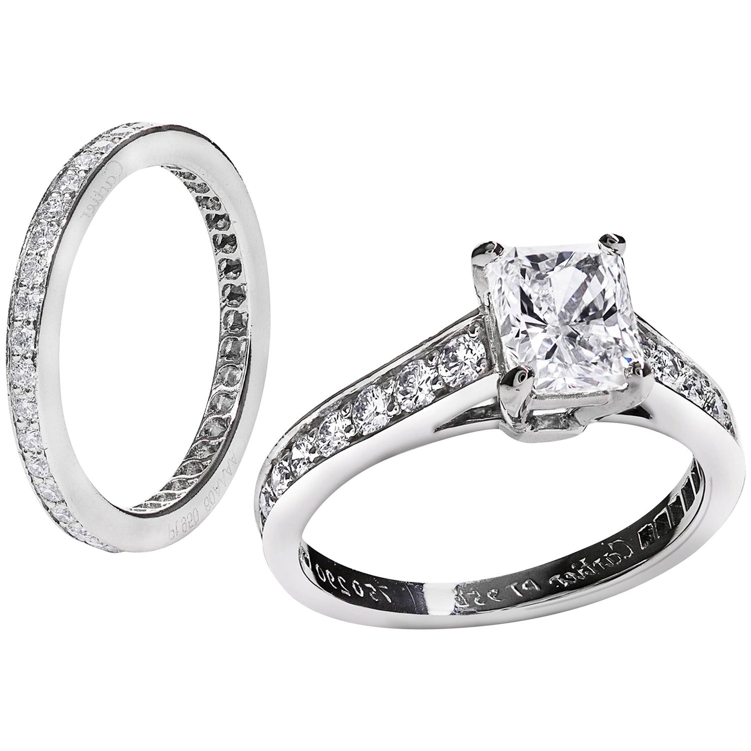 Cartier wedding rings 20 for sale at 1stdibs cartier 1895 solitaire radiant cut engagement ring and wedding band set junglespirit Choice Image