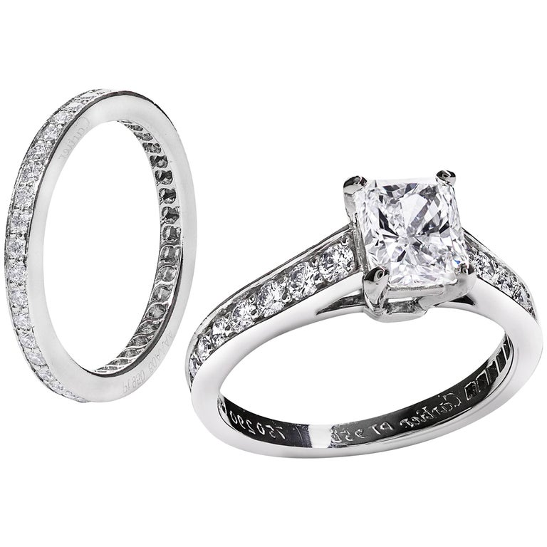 cartier 1895 solitaire radiant cut engagement ring and