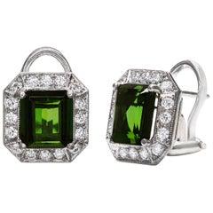 Roman Malakov, Green Tourmaline Diamond Halo Earrings