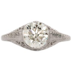 GIA Certified 1.40 Carat Diamond Platinum Engagement Ring