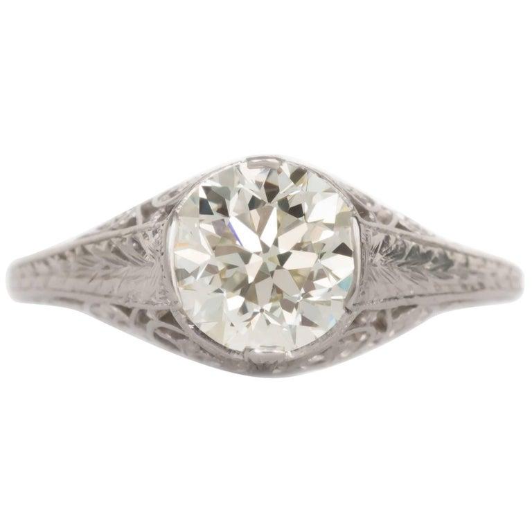 GIA Certified 1.40 Carat Diamond Platinum Engagement Ring