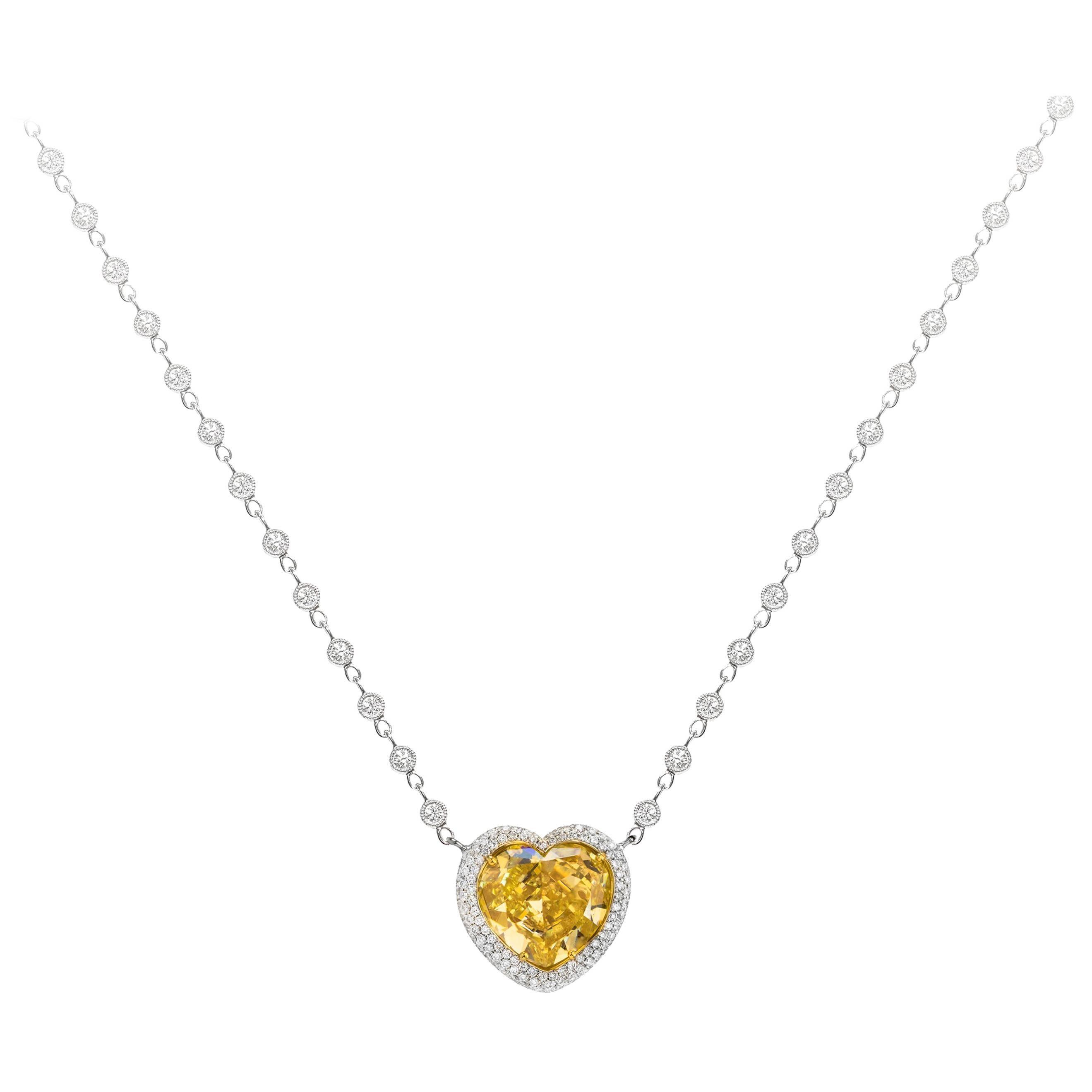 Roman Malakov, GIA Certified Yellow Heart Shape Diamond Reversible Pave Pendant