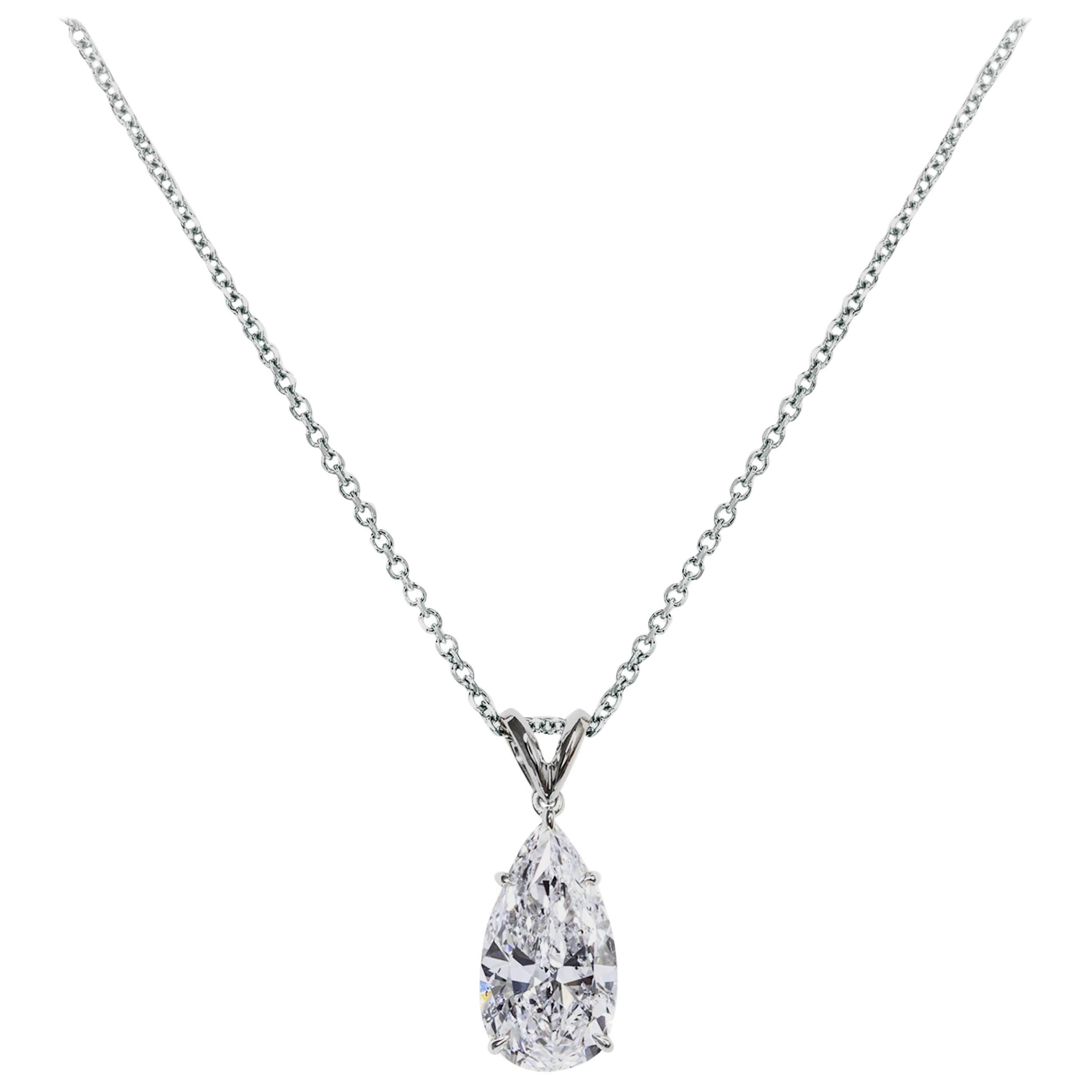 GIA Certified 3.01 Carat Pear Shape Diamond Solitaire Pendant Necklace