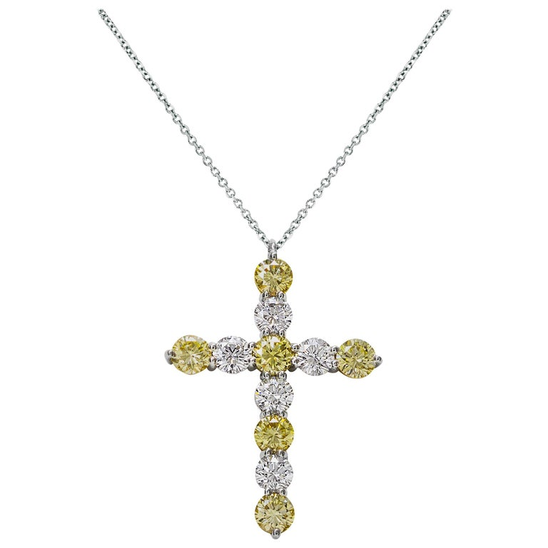 Alternating Fancy Yellow and White Round Cut Diamond Cross Pendant Necklace